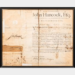 Hancock, John (1737-1793) Signed Massachusetts Militia Commission, 1788.