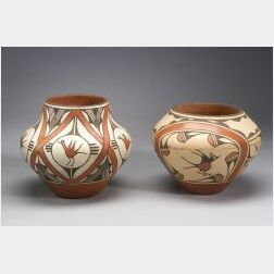 Two Contemporary Southwest Polychrome Pottery Jars