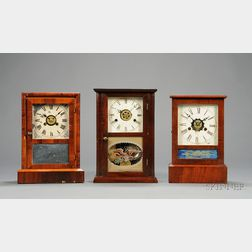 Three Connecticut 30-Hour Mahogany Cottage Clocks by Various Makers
