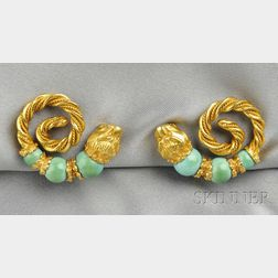 22kt Gold and Turquoise Earclips, Zolotas