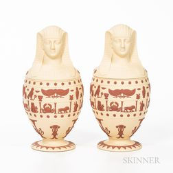 Pair of Wedgwood Solid Primrose Jasper Canopic Jars and Covers