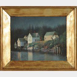 Framed Oil on Canvasboard View Full Moon, (near Boothbay Harbor)