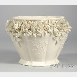 Belleek Floral Encrusted Porcelain Jardiniere