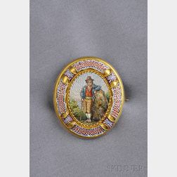 Antique 18kt Gold and Micromosaic Brooch, Italy