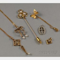Small Group of Gold, Diamond, and Pearl Jewelry
