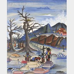 Jacques (Jean) Enguerrand Gourgue (Haitian, 1930-1996) Joue le mort /A Scene with a Houngan [Voodoo Priest] Calling Forth a Zombie S...