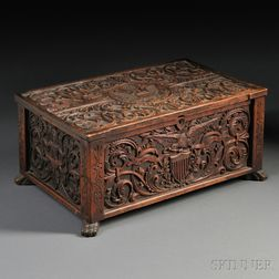 John Bellamy American Centennial Carved Walnut and Pine Box