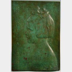 James Earle Fraser (American, 1876-1953)      Bronze Profile Portrait Plaque of Priscilla