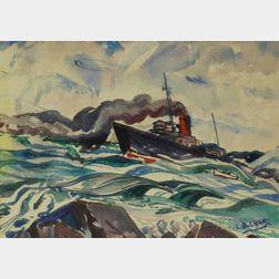 Leighton R. Cram (American, 1895-1981)      Steamship on the Ocean.