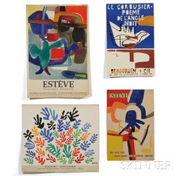Four Unframed Art Exhibition Posters    Le Corbusier, Matisse