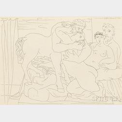 Pablo Picasso (Spanish, 1881-1973)      Le repos du sculpteur devant un centaure et une femme