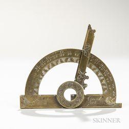 Andreas Conrad Engraved Brass Protractor