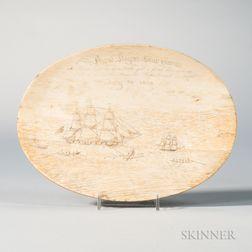 Oval Scrimshaw Whale Panbone Plaque