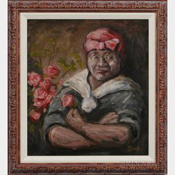 20th Century American School   Oil on Canvas Depicting a Mammy with Roses