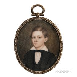 American School, 19th Century      Miniature Portrait of a Boy in a Black Jacket