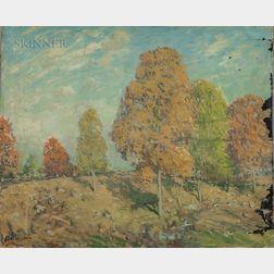 Arthur Clifton Goodwin (American, 1866-1929)    Autumn Landscape with Trees