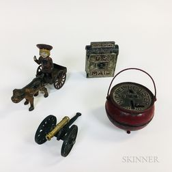 Four Polychrome Cast Iron Items