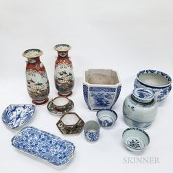 Fourteen Pieces of Chinese and Japanese Porcelain Tableware