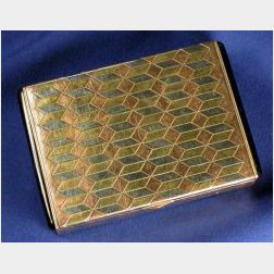 Art Deco Tri-color Gold Marquetry and Enamel Case, Udall & Ballou
