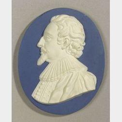 Wedgwood and Bentley Solid Blue Jasper Portrait Medallion of Hugo Grotius