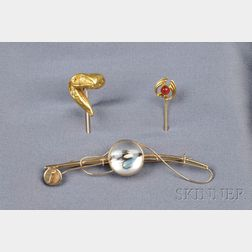 Three 14kt Gold Jewelry Items