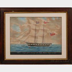 Italian School, 19th Century      [Brig] Albion Morgan Jones Coming into Malta Harbor May 6, 1855.