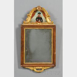 Gilt Gesso Carved and Walnut Veneer Mirror