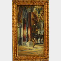 Wladimir Petroff  (Russian/French, b. 1930)      Interior of the Hagia Sophia, Istanbul.
