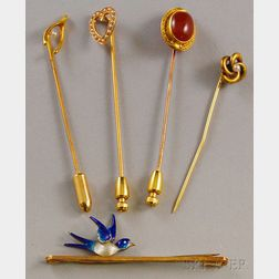Four Antique 14kt Gold Stickpins and a 14kt Gold and Enamel Bluebird Pin