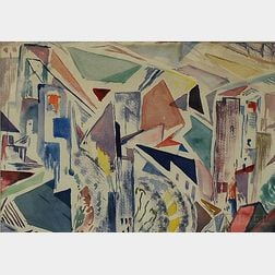 Leighton R. Cram (American, 1895-1981)      Abstracted City Landscape.