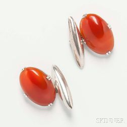 Chinese Export Silver and Carnelian Cuff Links
