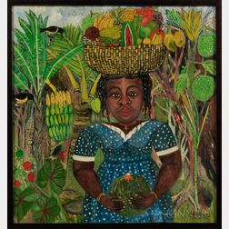 20th Century Caribbean School   Oil on Canvas Depicting a Woman with Fruit Basket on Her Head