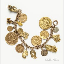 Gold Nugget, Coin, and Charm Bracelet