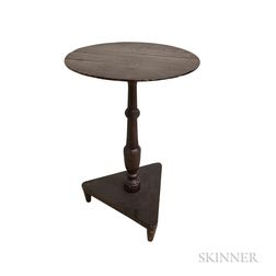 Country Black-painted Pine Candlestand