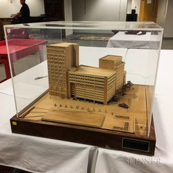 Plywood Architectural Model of a Parking Garage and Office Building.     Estimate $200-600