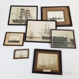 Seven Framed Photographs of Sailing Vessels