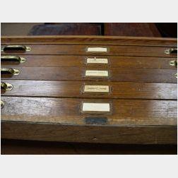 Keuffel & Esser Co. Oak and Plywood Five-Drawer Folio Cabinet.