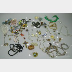 Group of Assorted Art Deco to Vintage Art Glass, Crystal, and Paste Costume Jewelry