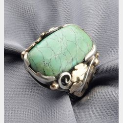 Arts & Crafts Silver, Gold, and Turquoise Ring, Edward Everett Oakes