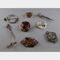 Nine Celtic Pins/Brooches