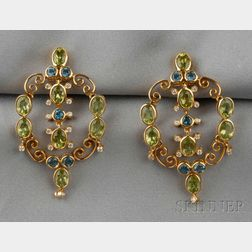 18kt Gold, Peridot, and Blue Zircon Earpendants, Laura Munder