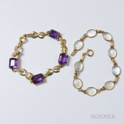 14kt Gold and Moonstone Bracelet and 14kt Gold and Amethyst Bracelet