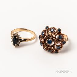 Two 14kt Gold and Sapphire Rings