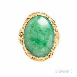 High-karat Gold and Jade Ring