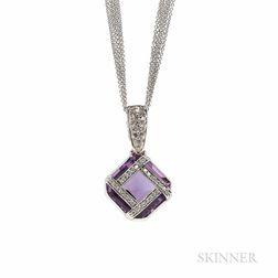 14kt White Gold, Amethyst, and Diamond Pendant