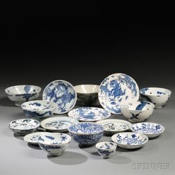 Seventeen Blue and White Tableware Items