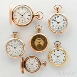 Six Gold-filled American Pocket Watches