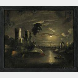 Attributed to William Matthew Prior (Massachusetts/Maine, 1806-1873)      Moonlight Landscape