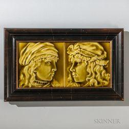 Two Framed Kensington Art Tile Co. Art Pottery Tile Portraits