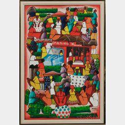 20th Century Caribbean School   Oil on Canvas Depicting Market Scene.     Estimate $150-250